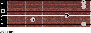 A9/13sus for guitar on frets 5, 2, 4, 0, 5, 5