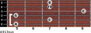 A9/13sus for guitar on frets 5, 7, 5, 9, 7, 7