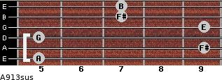 A9/13sus for guitar on frets 5, 9, 5, 9, 7, 7