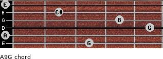 A9/G for guitar on frets 3, 0, 5, 4, 2, 0