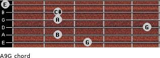 A9/G for guitar on frets 3, 2, 5, 2, 2, 0