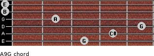 A9/G for guitar on frets 3, 4, 5, 2, 0, 0