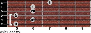 A9b5 add(#5) for guitar on frets 5, 6, 5, 6, 6, 7