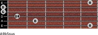 A9b5sus for guitar on frets 5, 2, 1, 0, 0, 5