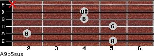A9b5sus for guitar on frets 5, 2, 5, 4, 4, x