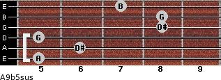A9b5sus for guitar on frets 5, 6, 5, 8, 8, 7