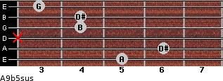 A9b5sus for guitar on frets 5, 6, x, 4, 4, 3