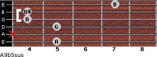 A9b5sus for guitar on frets 5, x, 5, 4, 4, 7