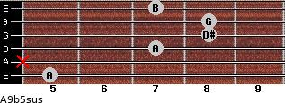 A9b5sus for guitar on frets 5, x, 7, 8, 8, 7