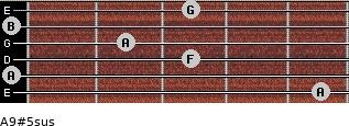 A9#5sus for guitar on frets 5, 0, 3, 2, 0, 3