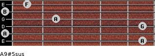A9#5sus for guitar on frets 5, 0, 5, 2, 0, 1