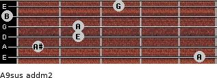 A9sus add(m2) for guitar on frets 5, 1, 2, 2, 0, 3