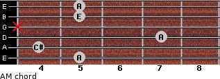 AM for guitar on frets 5, 4, 7, x, 5, 5