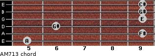 AM7/13 for guitar on frets 5, 9, 6, 9, 9, 9