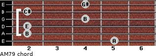 AM7/9 for guitar on frets 5, 2, 2, 4, 2, 4