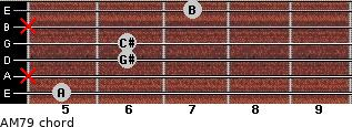 AM7/9 for guitar on frets 5, x, 6, 6, x, 7