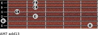 AM7(add13) for guitar on frets 5, 0, 2, 1, 2, 2