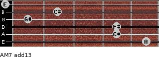 AM7(add13) for guitar on frets 5, 4, 4, 1, 2, 0
