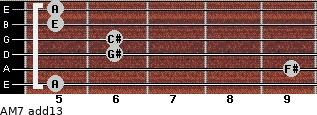 AM7(add13) for guitar on frets 5, 9, 6, 6, 5, 5