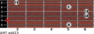 AM7(add13) for guitar on frets 5, x, 6, 6, 5, 2