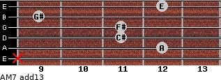 AM7(add13) for guitar on frets x, 12, 11, 11, 9, 12