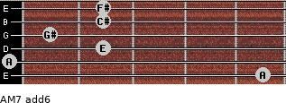 AM7(add6) for guitar on frets 5, 0, 2, 1, 2, 2