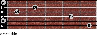 AM7(add6) for guitar on frets 5, 0, 4, 1, 2, 0