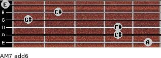 AM7(add6) for guitar on frets 5, 4, 4, 1, 2, 0