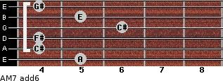 AM7(add6) for guitar on frets 5, 4, 4, 6, 5, 4