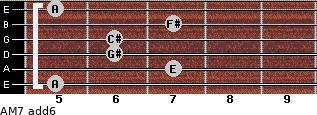AM7(add6) for guitar on frets 5, 7, 6, 6, 7, 5