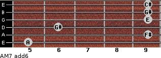 AM7(add6) for guitar on frets 5, 9, 6, 9, 9, 9