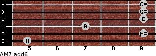 AM7(add6) for guitar on frets 5, 9, 7, 9, 9, 9