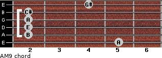 AM9 for guitar on frets 5, 2, 2, 2, 2, 4
