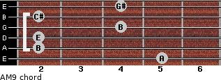 AM9 for guitar on frets 5, 2, 2, 4, 2, 4