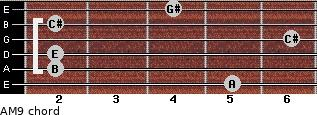 AM9 for guitar on frets 5, 2, 2, 6, 2, 4