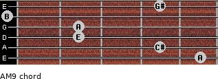 AM9 for guitar on frets 5, 4, 2, 2, 0, 4