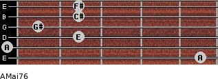 AMaj7/6 for guitar on frets 5, 0, 2, 1, 2, 2
