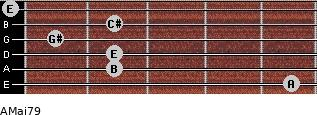 AMaj7/9 for guitar on frets 5, 2, 2, 1, 2, 0