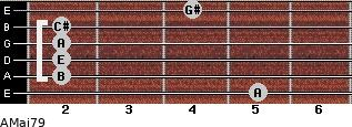 AMaj7/9 for guitar on frets 5, 2, 2, 2, 2, 4