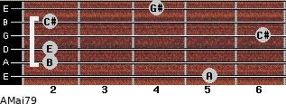 AMaj7/9 for guitar on frets 5, 2, 2, 6, 2, 4