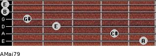 AMaj7/9 for guitar on frets 5, 4, 2, 1, 0, 0