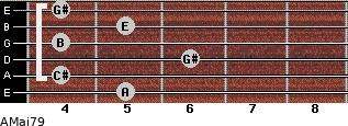 AMaj7/9 for guitar on frets 5, 4, 6, 4, 5, 4