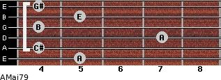 AMaj7/9 for guitar on frets 5, 4, 7, 4, 5, 4