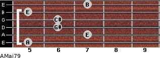 AMaj7/9 for guitar on frets 5, 7, 6, 6, 5, 7