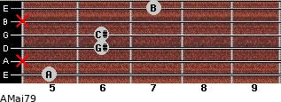 AMaj7/9 for guitar on frets 5, x, 6, 6, x, 7