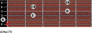 AMaj7/9 for guitar on frets x, 0, 2, 4, 2, 4