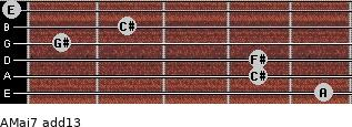 AMaj7(add13) for guitar on frets 5, 4, 4, 1, 2, 0