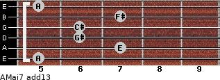 AMaj7(add13) for guitar on frets 5, 7, 6, 6, 7, 5