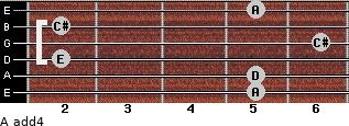 A add(4) for guitar on frets 5, 5, 2, 6, 2, 5