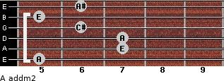 A add(m2) for guitar on frets 5, 7, 7, 6, 5, 6